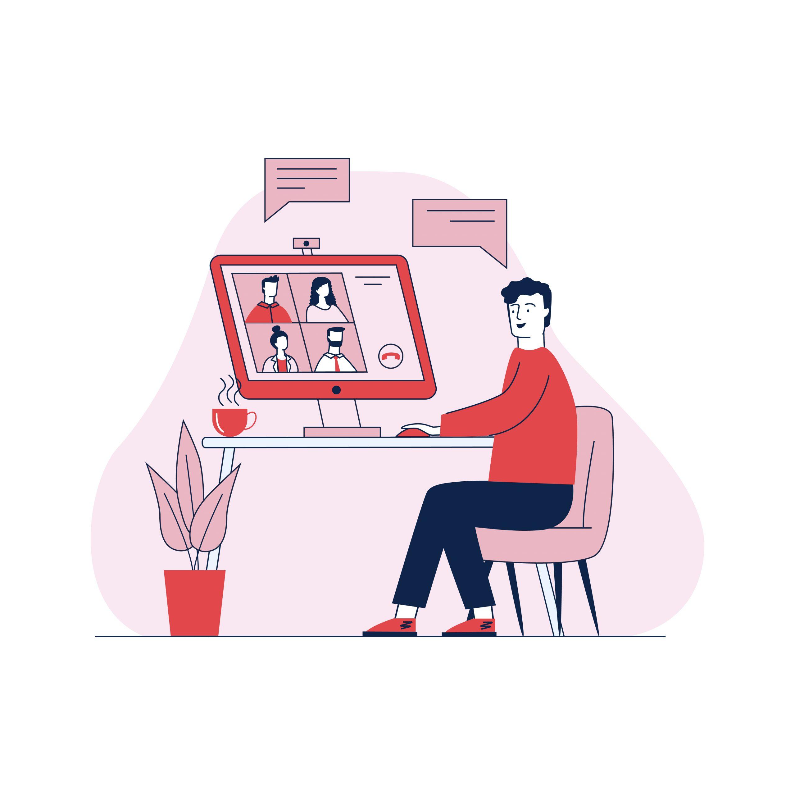 Man talking via online videoconference vector illustration